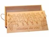 Lyx 6-bin vin lådor med en förtryckt omslag (bild vinflaskor och textmarkering des vins)