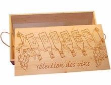 Luxury 6-bin wine boxes with a pre-printed cover (picture wine bottles and text selection des vins)