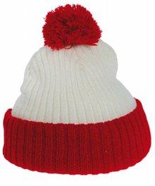 Billig strikkede røde og hvide pom pom hatte børn købe?