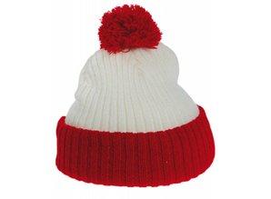 Евтини трикотажни червени и бели Pom Pom шапки деца купя?
