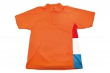 Orange Pique Polo er udstyret med farverne rød, hvid og blå (kvalitet 65% polyester, 35% bomuld)