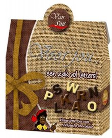 Voor Jou! Een jute zak van Sinterklaas vol met heerlijke chocolade lettertjes