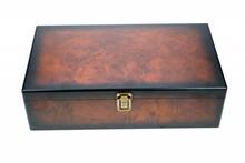 Луксозни кафяв Кутия за вино 3 отделения с подвижен капак (размер в рамките на извънгабаритни 400 х 240 х 90 mm)