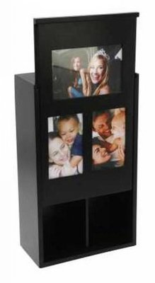 2-compartment black Wine Boxes with sliding lid (suitable for 3 photos)