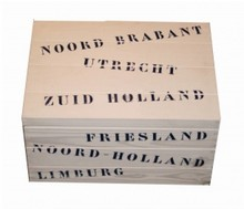 Wooden ship boxes with the names of all the provinces of the Netherlands (400 x 300 x 230 mm)