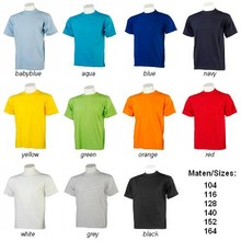 Goedkope kinder T-shirts kopen? Goedkope kinder T-shirts (100% katoen) met korte mouw en ronde hals