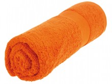 Cheap towels in orange (size 50 x 100 cm. 380 g/m2)