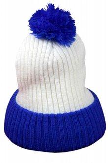 Billige blå og hvid pom pom hatte købe?