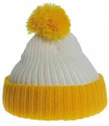 Евтини жълто-бели Pom Pom бебето шапки купя?