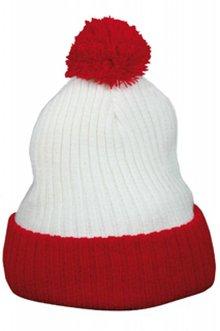 Rød og hvid pom pom hatte i voksen størrelser