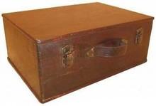 Koloniale houten bruine kisten (groot model, afmeting 470 x 330 x 180 mm)