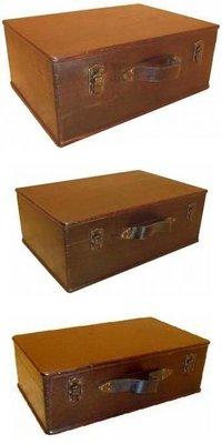 Set koloniale houten bruine kisten (3 stuks)