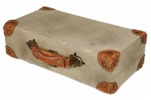 Old fashioned suitcases for 2 bottles of wine (size 365 x 200 x 105 mm)