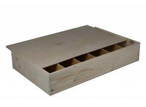 Wijnkisten! Goedkope houten 6-vaks Wijnkisten kopen? Bij ons kunt u goedkope houten 6-vaks wijnkisten kopen! In deze goedkope wijnkisten met schuifdeksel kunt u 6 wijnflessen verpakken. Binnenmaat: 558 x 340 x 95 mm.