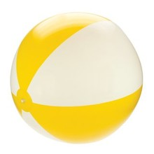 Inflatable beach balls with yellow and white stripes (21 inch)
