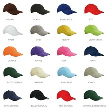 Cotton Kids Baseball Caps (the size of the cap is adjustable at the rear)