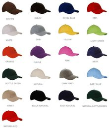 Cotton Baseball Caps for adults (adjustable rear)