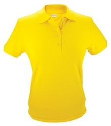 Gele dames (polo pique) Poloshirts (leverbaar in de maten S t/m XXL)
