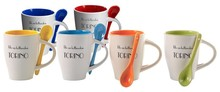 Pottery mugs with color inside and spoon in the ear (diameter 8.5 cm mug, mug height 12.5 cm)