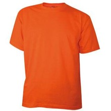 Cheap orange T-shirts with short sleeves and round neck (100% cotton)