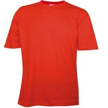 Cheap red T-shirts with short sleeves and round neck (100% cotton)