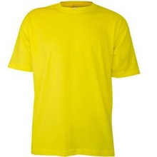 Goedkope gele T-shirts met korte mouw en ronde hals (100% katoen)