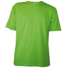 Cheap light green T-shirts with short sleeves and round neck (100% cotton)