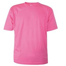 Cheap pink T-shirts with short sleeves and round neck (100% cotton)