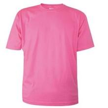 Goedkope roze T-shirts met korte mouw en ronde hals (100% katoen)