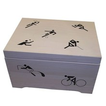 Wooden sea chest filled with images of several top sports