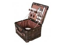 Billige brun vidje picnic kurv (komplet med indhold til 2 personer)