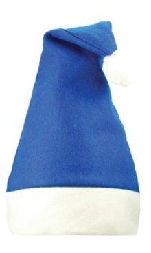 Blauwe Kerstmutsen met witte band (volwassen maat)