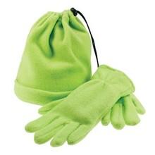 Trendy fleece hat and matching fleece gloves
