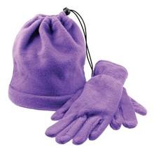 Trendy fleece muts en bijpassende fleece handschoenen