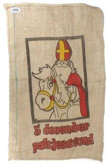 De zak van Sinterklaas (grote jute zak met afbeelding Sinterklaas)