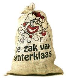 De zak van Sinterklaas (grote jute zak met afbeelding Zwarte Piet)