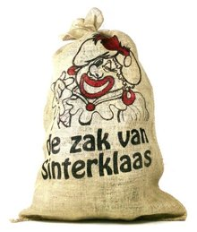 Sinterklaas bag (large jute bag with image Zwarte Piet)