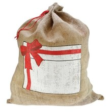 Jute zakken (grote jute zakken met afbeelding van een Cadeau, afmeting 55 x 73 cm)