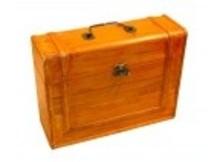 Bruin gelakte 3-vaks houten Wijnkist (staand model) met zink ijzeren sluiting