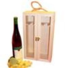 2-vaks Wijnkisten met doorzichtig kijkvenster