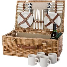 Deluxe кошница за пикник за 4 лица (включително посуда и прибори)