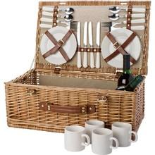 Deluxe picnic kurv til 4 personer (herunder bestik og porcelæn)