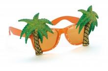 Goedkope oranje Holland Zonnebrillen (voorzien van 2 palmbomen aan weerszijden)
