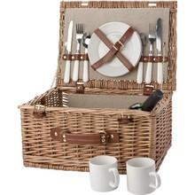 Deluxe picnickurv for 2 personer (herunder bestik og porcelæn)