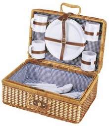 "Cheap Picnic Baskets ""Bamboo"" (content suitable for 4 persons)"