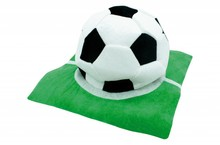 Hat in the shape of a football pitch, and