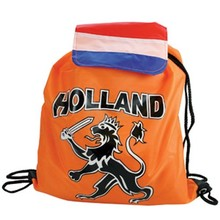 Cheap orange Backpacks with Holland and Dutch lion logo (size: 34 x 42 cm)