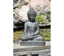BUDDHA IMAGE økonomi med åbne og 1 HÅND 1 hånd på hans knæ