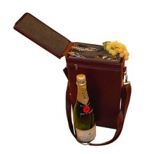 Шик двукамерна кутии за вино (включително нож + стоп + чучур)