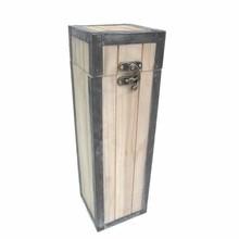 Luxe staande houten 1-vaks Wijnkoffer (110 x 110 x 265 mm)
